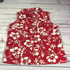 womens sleeveless hawaiin button shirt